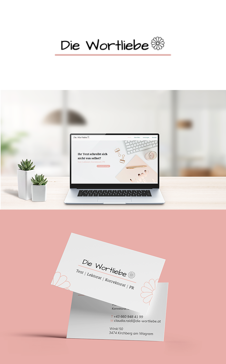 Abbildung Logo Die Wortliebe. Visualisierung des screen Designs der Website von der Die Wortliebe. Visualisierung Design Visitenkarte.